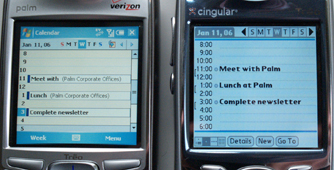 Calendar comparisons between Treo 650 and Treo 700w