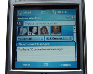 Treo 700w email notification