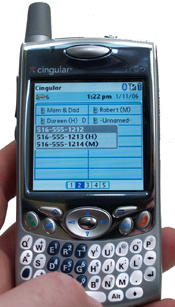 Accessing contact numbers on Treo 650