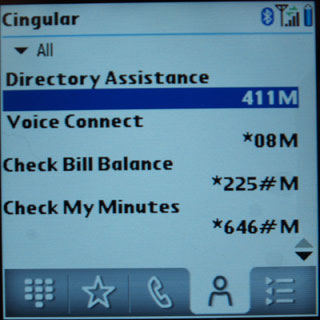 Treo 680 Contacts view