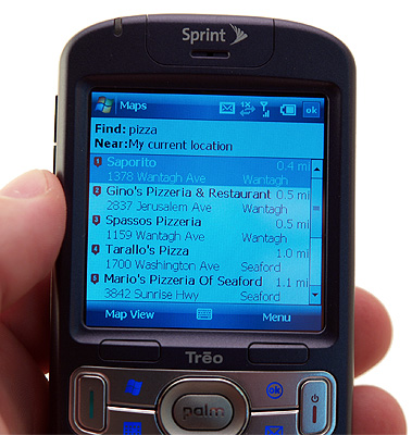 GPS search on Treo 800w