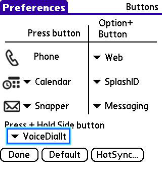 Configure VoiceDialIt side button on Treo