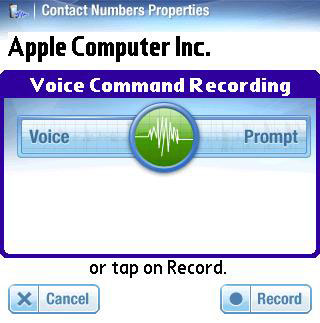 VoiceDial Treo record