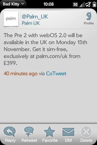 Palm Pre 2 UK