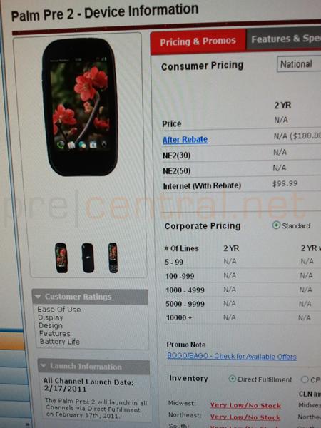 Verizon Palm Pre 2