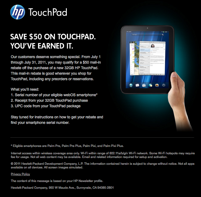 HP TouchPad rebate