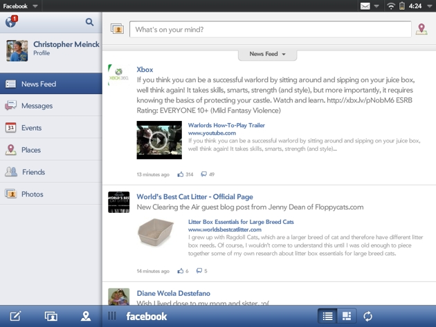Facebook for TouchPad