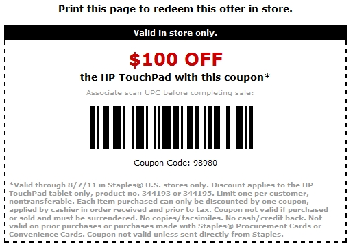 HP TouchPad $100 off