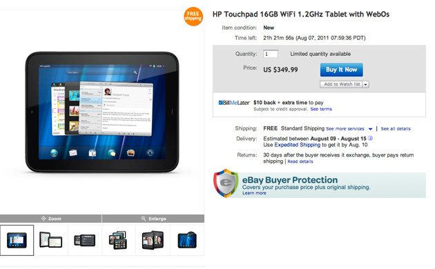 HP TouchPad deal